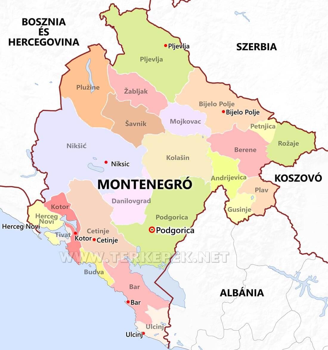 montenegro térkép Montenegró térképek montenegro térkép