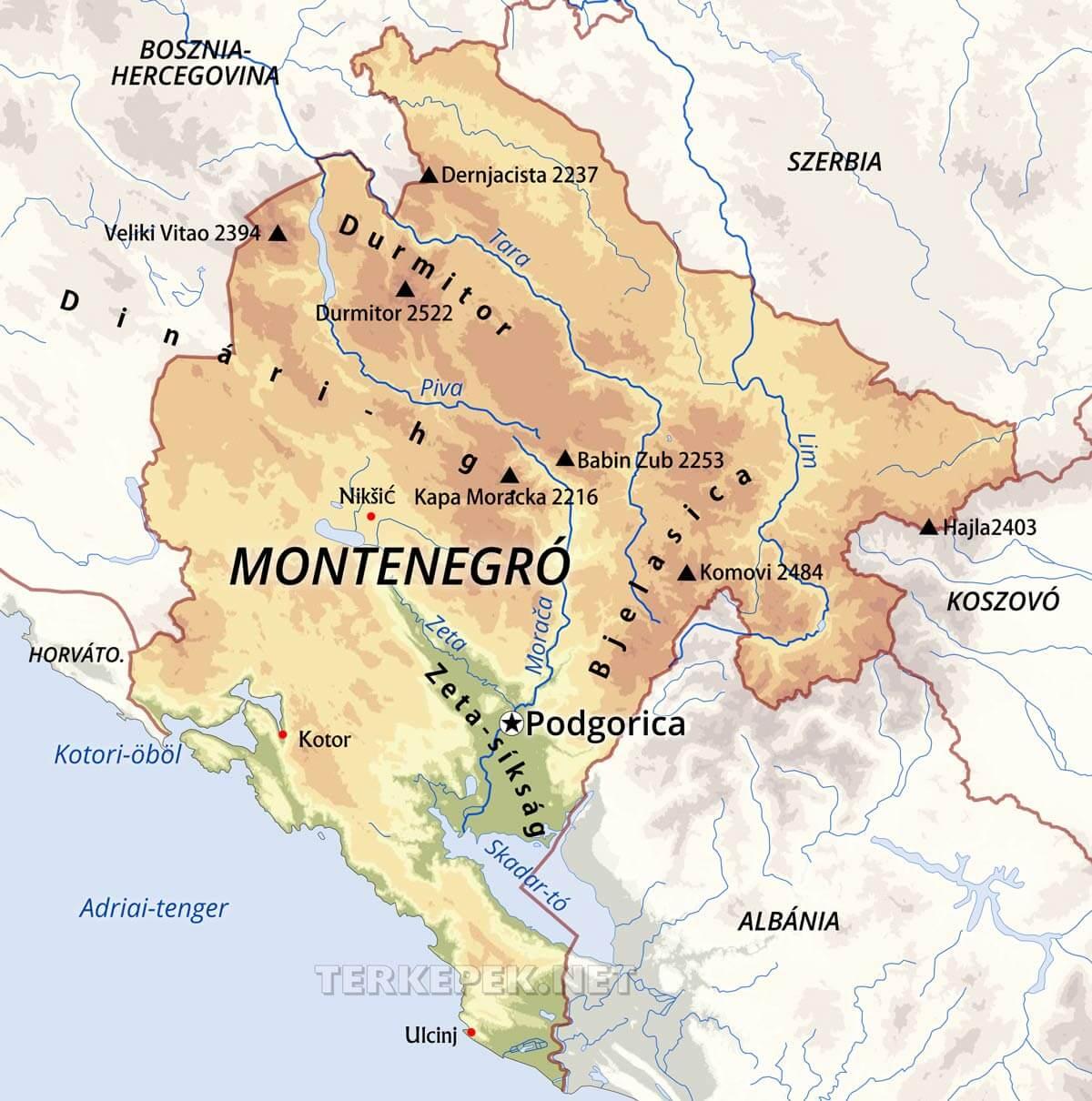 montenegró térkép Montenegró térképek montenegró térkép